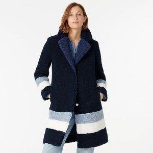 J Crew Teddy sherpa topcoat in colorblock coat